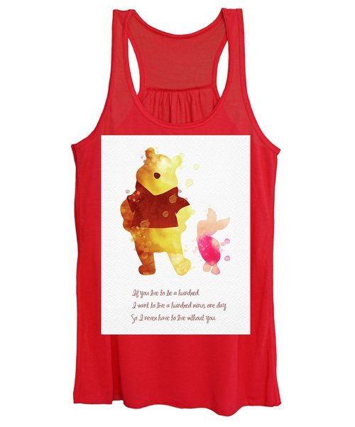 Piglet And Pooh Watercolor 3 Women's Tank Top