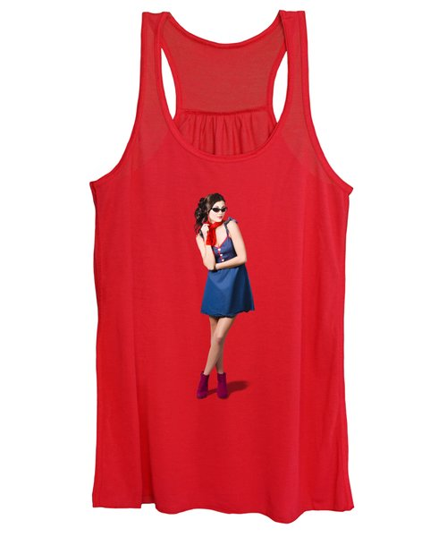 Pin Up Styling Fashion Girl In Retro Denim Dress Women's Tank Top