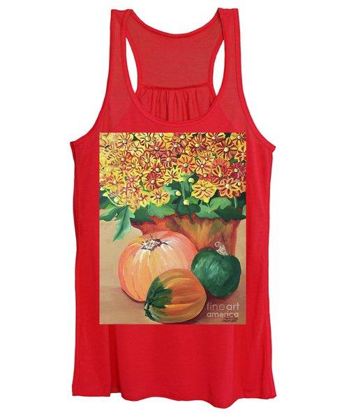 Pumpkin With Flowers Women's Tank Top