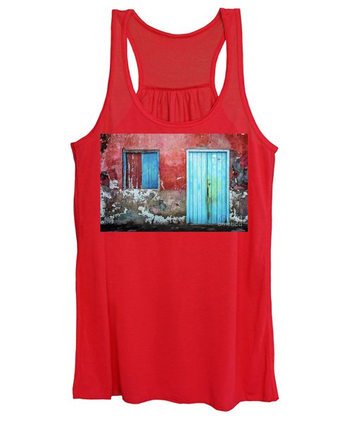 Red, Blue And Grey Wall, Door And Window Women's Tank Top