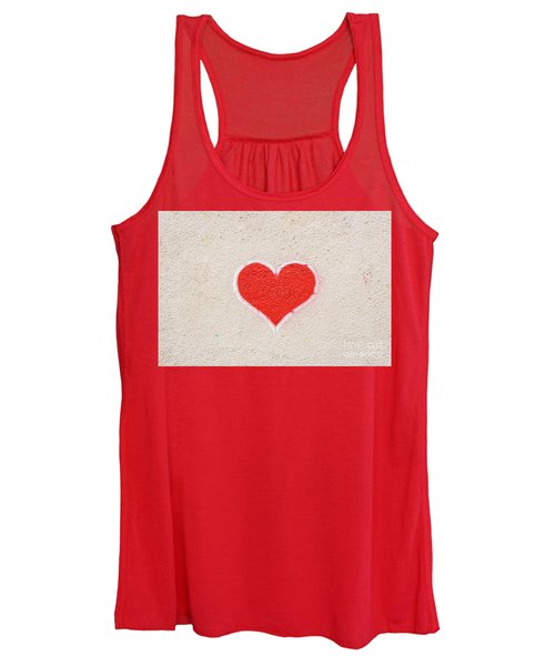 Red Heart Painted On A Wall, Message Of Love. Women's Tank Top