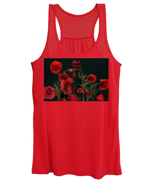 Red Poppies On Black Women's Tank Top