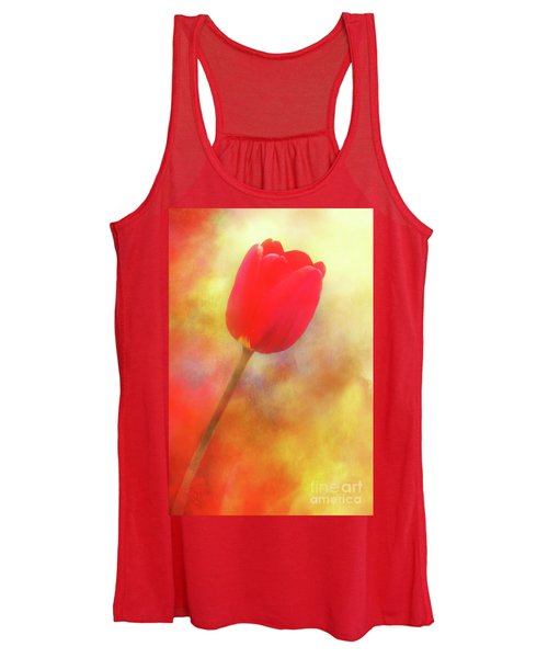 Red Tulip Reaching For The Sun Women's Tank Top