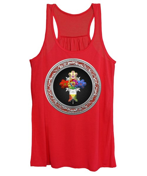 Rosy Cross - Rose Croix Special Edition On Black Over Red Leather Women's Tank Top