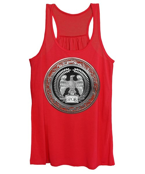 Silver Roman Imperial Eagle Over Red Leather Women's Tank Top