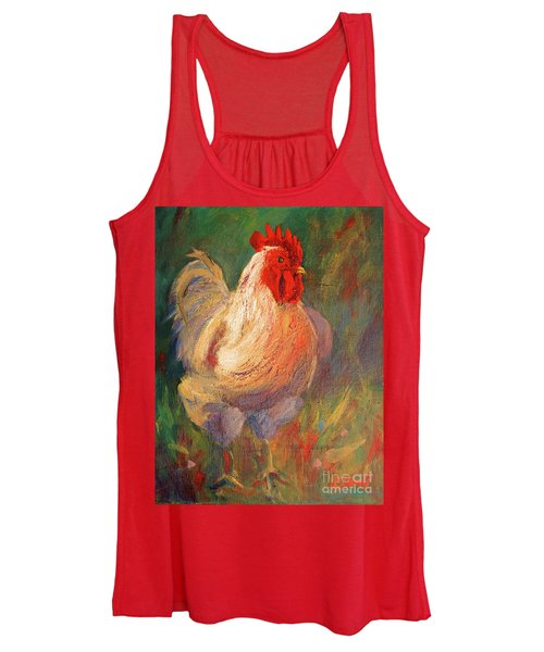 White And Red Chicken Against Green Women's Tank Top
