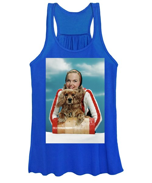 1940s 1950s Smiling Woman On Wooden Women's Tank Top