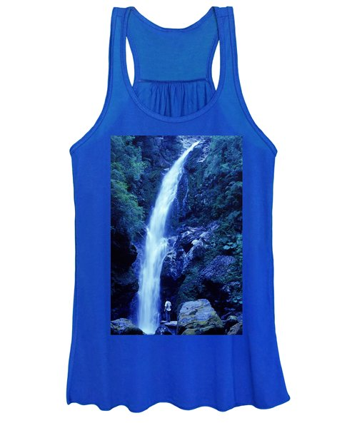A Man Admires A Waterfall, Patagonia Women's Tank Top