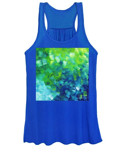 Abstract Art Original Textured Soothing Painting Sea Of Whimsy I By Madart Women's Tank Top