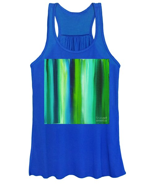 Abstract Art Original Textured Soothing Painting Sea Of Whimsy Stripes I By Madart Women's Tank Top