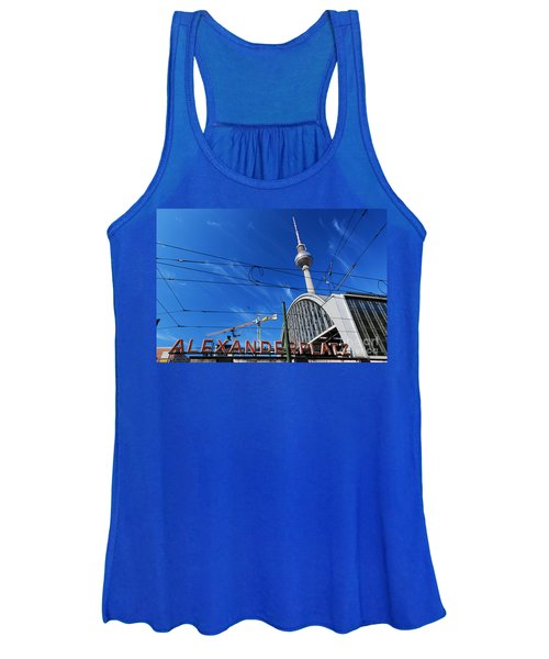 Alexanderplatz Sign And Television Tower Berlin Germany Women's Tank Top