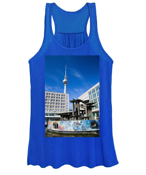 Alexanderplatz View On Television Tower Berlin Germany Women's Tank Top
