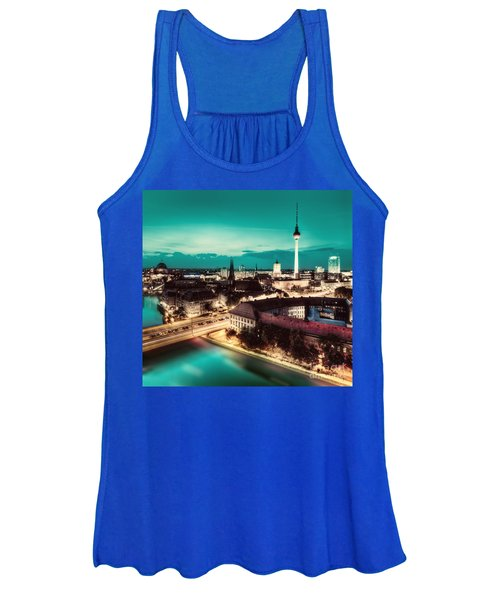 Berlin Germany Major Landmarks At Night Women's Tank Top