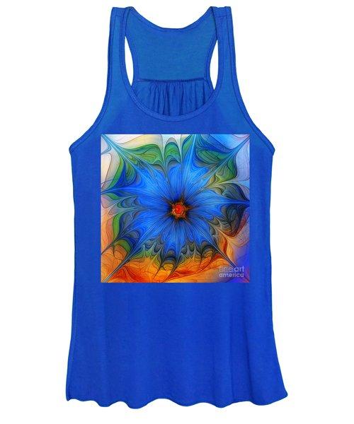 Blue Flower Dressed For Summer Women's Tank Top