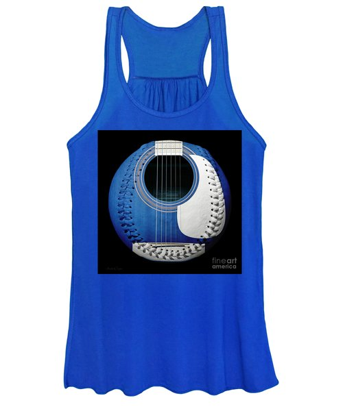 Blue Guitar Baseball White Laces Square Women's Tank Top