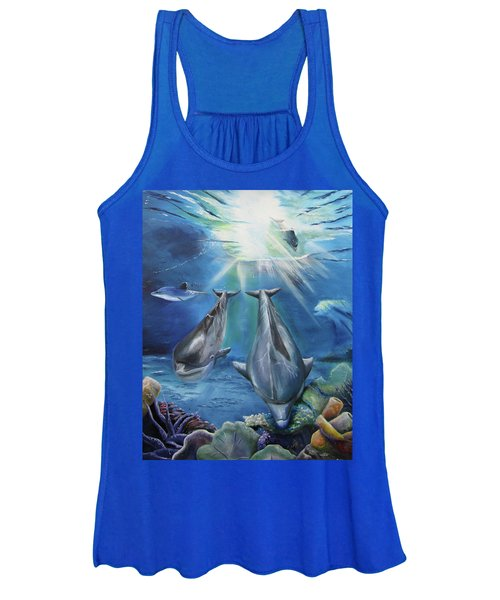 Dolphins Playing Women's Tank Top