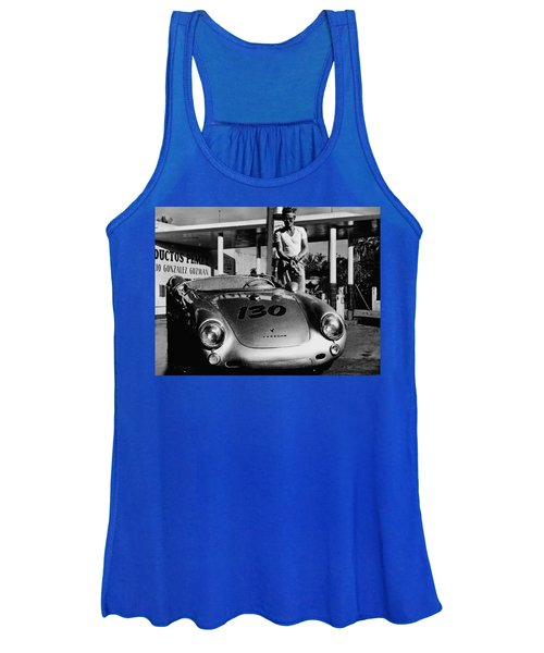 James Dean Filling His Spyder With Gas In Black And White Women's Tank Top