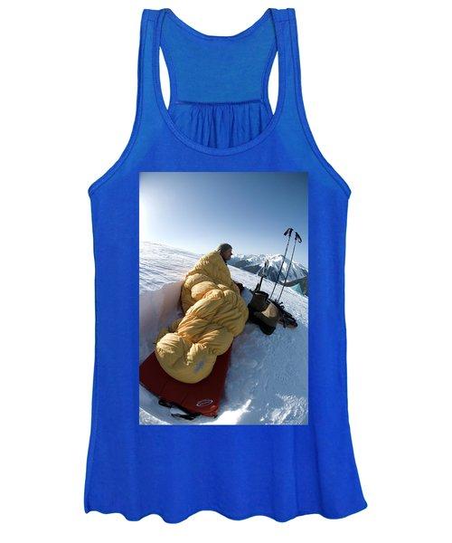 Man In Sleeping Bag On Summit Women's Tank Top