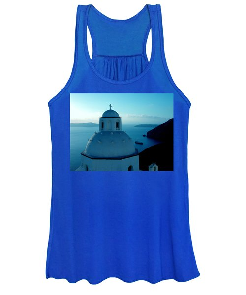 Peacefull Santorini Greek Island  Women's Tank Top