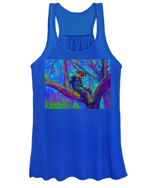 Small Boy In Large Tree Women's Tank Top