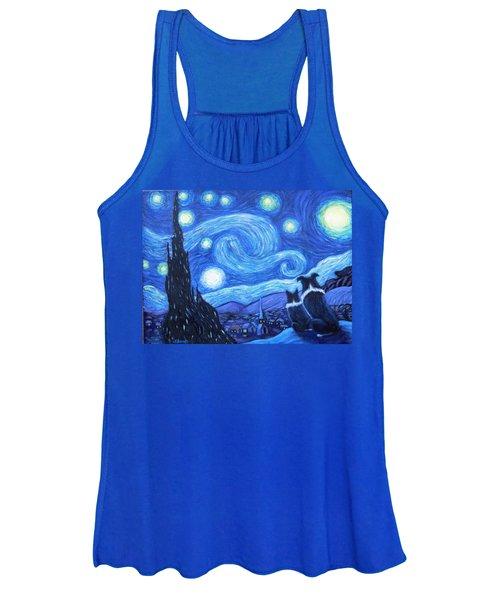 Starry Night Border Collies Women's Tank Top