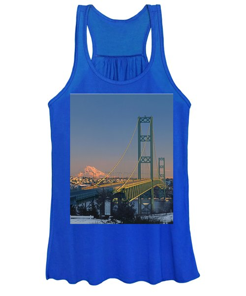 1a4y20-v-sunset On Rainier With The Tacoma Narrows Bridge Women's Tank Top