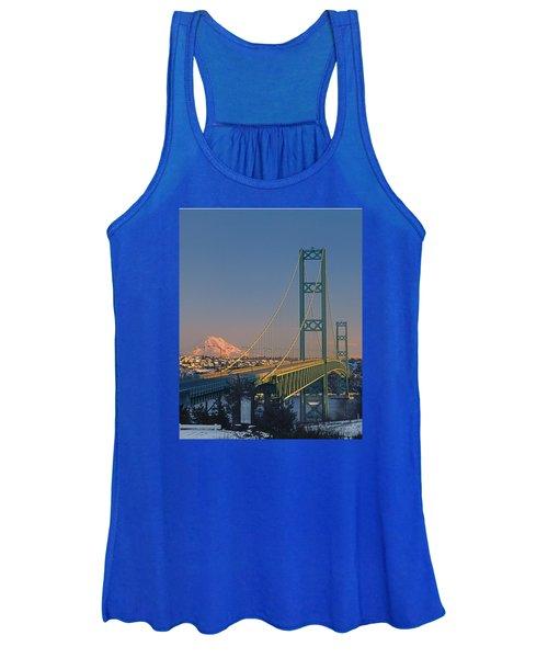 1a4y20-v-sunset On Rainier With The Tacoma Narrows Bridge Women's Tank Top