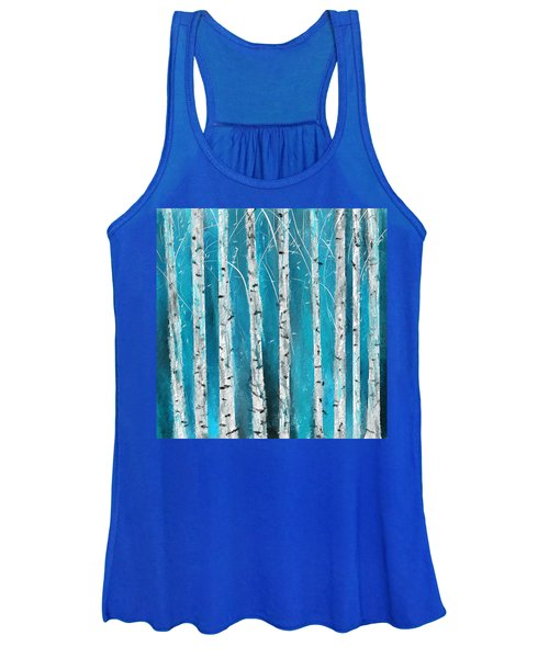Turquoise Birch Trees II- Turquoise Art Women's Tank Top