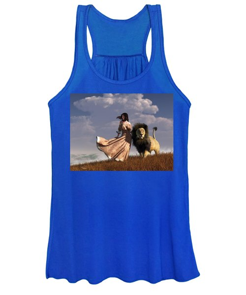 Woman With African Lion Women's Tank Top