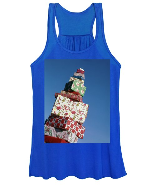 Wrapped Christmas Present Stacked Women's Tank Top