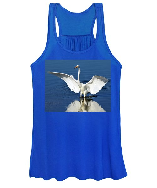 Great White Egret Spreading Its Wings Women's Tank Top