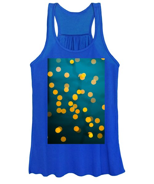 Green Background With Gold Dots  Women's Tank Top