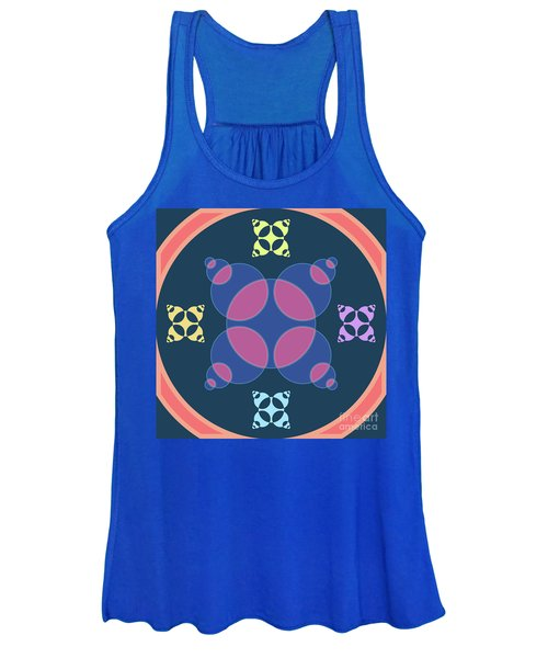 Abstract Mandala Pink, Dark Blue And Cyan Pattern For Home Decoration Women's Tank Top