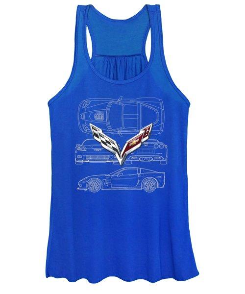 Chevrolet Corvette 3 D Badge Over Corvette C 6 Z R 1 Blueprint Women's Tank Top