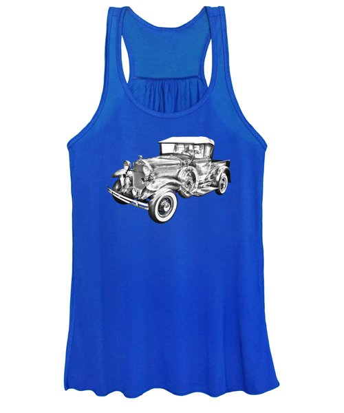 1930 Ford Model A Pickup Truck Illustration Women's Tank Top