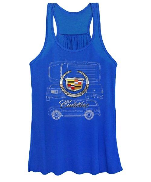 Cadillac 3 D Badge Over Cadillac Escalade Blueprint  Women's Tank Top