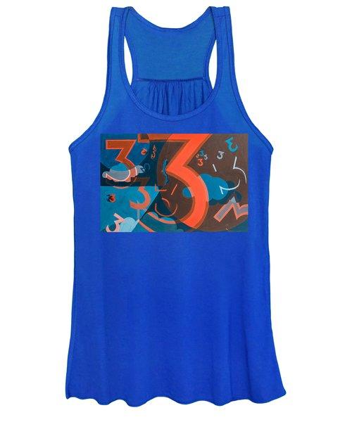 3 In Blue And Orange Women's Tank Top