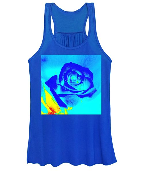Single Blue Rose Abstract Women's Tank Top