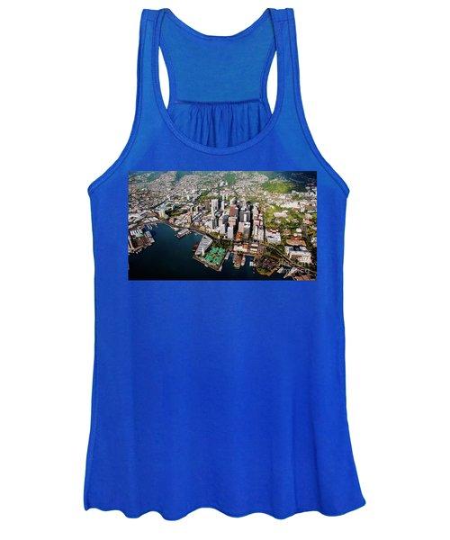Aerial Panorama - Downtown - City Of Honolulu, Oahu, Hawaii  Women's Tank Top