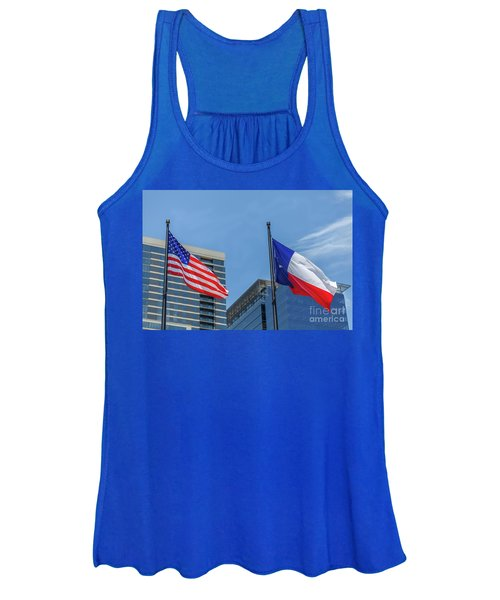 American And Texas Flag On Top Of The Pole Women's Tank Top