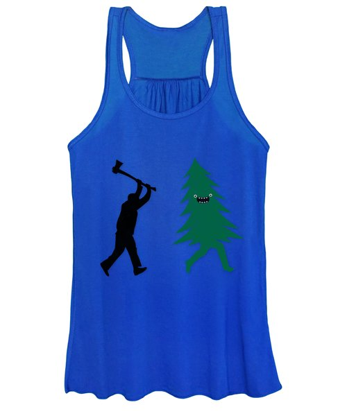Funny Cartoon Christmas Tree Is Chased By Lumberjack Run Forrest Run Women's Tank Top