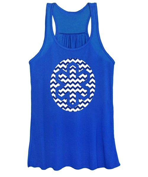 Blue Chevron Pattern Women's Tank Top