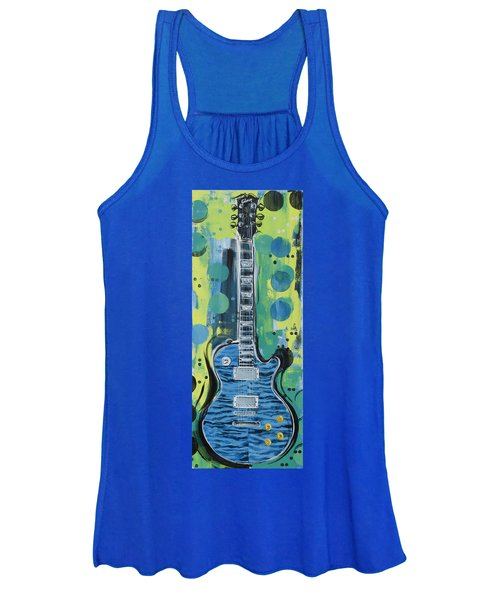 Blue Gibson Guitar Women's Tank Top