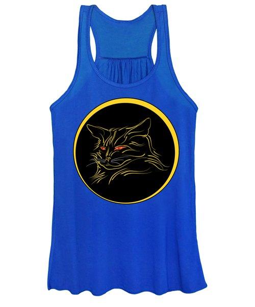 Calligraphic Black Cat And Moon Women's Tank Top