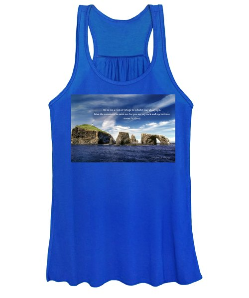 Channel Island National Park - Anacapa Island Arch With Bible Verse Women's Tank Top