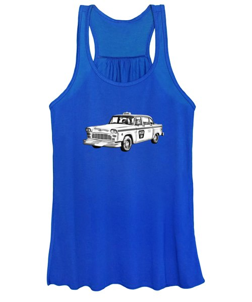 Checkered Taxi Cab Illustrastion Women's Tank Top