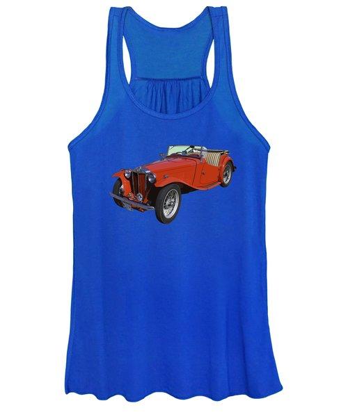 Classic Red Mg Tc Convertible British Sports Car Women's Tank Top
