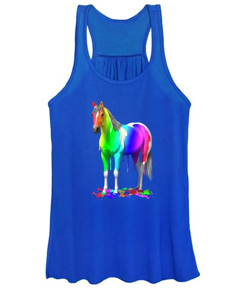 Colorful Rainbow Paint Horse Women's Tank Top