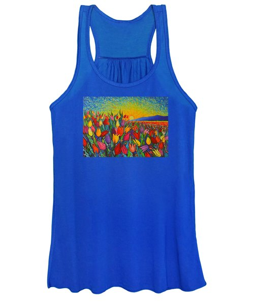 Colorful Tulips Field Sunrise - Abstract Impressionist Palette Knife Painting By Ana Maria Edulescu Women's Tank Top