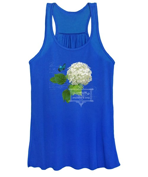 Cottage Garden White Hydrangea With Blue Butterfly Women's Tank Top